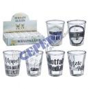 Shot glass, black / white, 6 / s, ca. 2cl