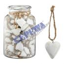 Pendant, heart, antique white, small, ca. 5cmD