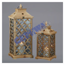 wholesale Wind Lights & Lanterns: Lantern set wood, 2 pieces.