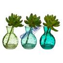 wholesale Flowerpots & Vases: Decorative vase 'Leaf' with succulent, 3 /