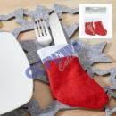 Großhandel Glückwunschkarten: Bestecktasche Weihnachtssocke, 4er-Set, 9x13cm