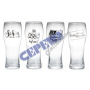 Wheat beer glass sayings, 4 / s, 500ml, 8,5x23,5cm