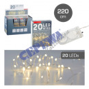 20 LED Fairy Lights Micro, BUTTON CELL, 220cm