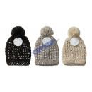 Großhandel Kopfbedeckung: Mütze 'Bling Bling', mit Bommel, 3/s