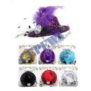 Großhandel Kopfbedeckung: Mini-Hut , Glitzer mit Feder , ca. 7cm , 6/s
