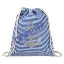 Match bag 'anchor' light blue, striped