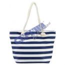 Beach bag striped, navy / white