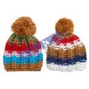 Großhandel Kopfbedeckung: Bommelmütze , grobstrick , bunt , 2 Farben sort.