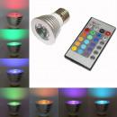 RGB 3 Watt LED-Scheinwerfer mit Fernbedienung E14