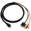 groothandel Computer & telecommunicatie: HDMI naar VGA + Tulp Kabel 1,8 Meter