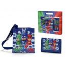 gift kids tracolla + portafoglio pj mask