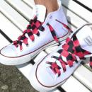 Großhandel Schuhzubehör: Schwarz Pink Gestreifte Schnürsenkel