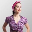 wholesale Scarves & Shawls: Bandana scarf pink paisley 55 cm x 55 cm