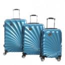 wholesale Suitcases & Trolleys: Suitcase Set of 3 Unisex SUNRISE BLUE 011 SET OF 3