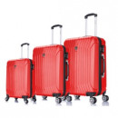wholesale Suitcases & Trolleys: Suitcase Set of 3 Unisex SPARK RED 011 + BS
