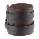 Leather bracelet double buckle