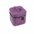 Purple leopard cosmetic cube bag with inside mirro