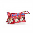 Red apple recycling cosmetic bag with zipper