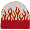 wholesale Headgear: White Red Snowboard Unisex Flame Beanie