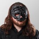 Half skull mask with hand - black