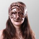 Half skull mask with hand - bronze