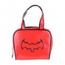 Red bowling handbag with black bat
