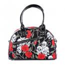Skull roses handbag with shoulder strap