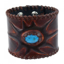 Leather bracelet with turquoise stone