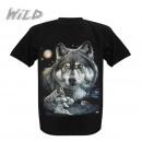 wholesale Shirts & Tops: Wild Motif Shirt Black Lying Wolf M