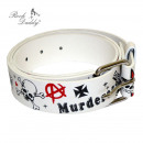 wholesale Watches: Anarchy Embossed Designs on White Faux Leather Gür