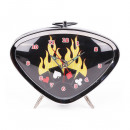 Rockabilly alarm clock with flaming card game