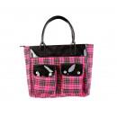 wholesale Travel and Sports Bags: Women's weekender tartan pink