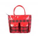 Großhandel Handtaschen: Handtasche in Roter Tartanoptik mit Abgesetztem La