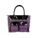 Großhandel Handtaschen: Shopper Tasche in Lila Tartanoptik