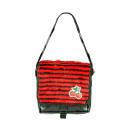 Fekete piros csíkos prémes keresztes táska Kir-nal