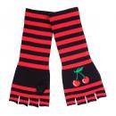 Großhandel Strümpfe & Socken: Kirschen Handschuhe Stulpen Schwarz Rot