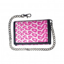 wholesale Light Garlands: Pink leopard print wallet including chain
