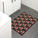Koponya cseresznye fürdőszőnyeg fekete