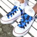 nagyker Cipő kiegészítők: Fekete kék csíkos csipkék