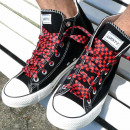 wholesale Shoe Accessories: Black red checkered laces