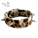wholesale Jewelry & Watches: Brown leopard bracelet with pointed rivets