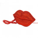 wholesale Telephone: Red disco lip phone with rhinestones