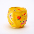 Fimo glass lantern handmade yellow with Galaxyster