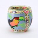 Latarnia szklana Fimo ręcznie kolorowa z papugą