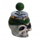 wholesale ashtray: Green ceramic pirate rotary ashtray