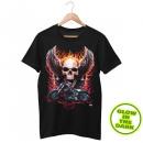Świecić w ciemności T-Shirt Czarny rower z czaszką