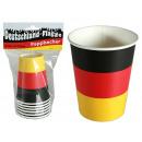 Großhandel Geschenkartikel & Papeterie: Pappbecher,  Deutschlandflagge, für ca. 250 ml, 6 S
