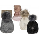 Cuddly beanie with faux fur pompom, Star, 100% Po
