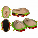 hurtownia Obuwie: Kuschelskie kapcie, hamburger, 100% poliester