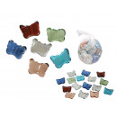 Decorative glass nuggets, butterfly, 6 assorted co